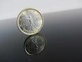 Single Italian Euro coins on grey background Royalty Free Stock Photo