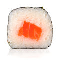 Single japanese roll with salmon, rice and nori isolated Royalty Free Stock Photo