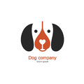 Single logo with a dog made in modern flat style. Logo or label for your company isolated on background.