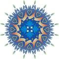 Single Mandala - Foliage Hearts Green and Blue Colors