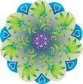 Single Mandala - Foliage Leaves Natural Green and Blue Colors