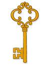 Single ornate gold vintage key Royalty Free Stock Photo