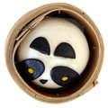 Single Panda Pork Bun in a Steamer, Isolated Royalty Free Stock Photo