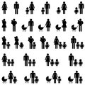 Single parent family icons Royalty Free Stock Photo