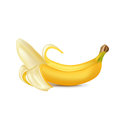Single peeled banana on white Royalty Free Stock Photography