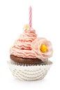 Single pink cupcake Royalty Free Stock Photo