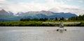 Single Prop Airplane Pontoon Plane Water Landing A Royalty Free Stock Photo