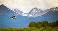 Single Prop Airplane Pontoon Plane Water Landing Alaska Last Fro Royalty Free Stock Photo