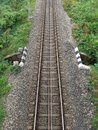stock image of  Single railway track top view, India