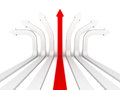 Single red arrow leader right direction forward