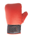 Single red and black boxing glove isolated over the white background Stock Photo