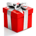 Single red gift box with gold ribbon on white background. Royalty Free Stock Photo
