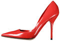 Single red leather ladies court shoe Royalty Free Stock Photo