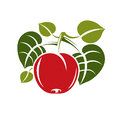 Single red simple vector cherry with green leaves, ripe sweet be Royalty Free Stock Photo