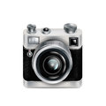 Single retro camera icon isolated