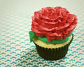 Single rose icing cupcake Stock Image