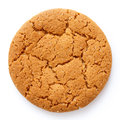 Single round ginger biscuit isolated on white from above. Royalty Free Stock Photo