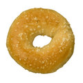 Single salt bagel against white isolated background Stock Photo