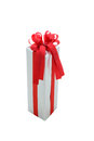 Single silver gift box with red ribbon isolated on white backgro Royalty Free Stock Photo
