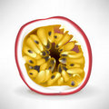 Single slice of passionfruit Stock Images