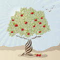 Single stylized apple tree Royalty Free Stock Photography