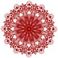 Single symmetric geometric circle ornament in vintage style red design Royalty Free Stock Photos