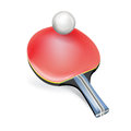 Single table tennis racket with ball isolated Stock Photos
