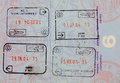 Single vivid passport page with four stamps Stock Image