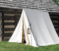 Single white vintage military tent Royalty Free Stock Photo