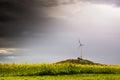 Single Windmill Turbine Hill Flowers Yellow Driving Highway Moti Royalty Free Stock Photo