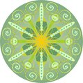 Single yellow green mandala abstract ornament in and design Stock Photography