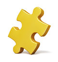 Single yellow puzzle piece isolated Royalty Free Stock Photo