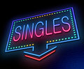 Singles concept illustration depicting an illuminated neon sign with a Stock Images