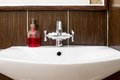 Sink with shiny faucet and soap Royalty Free Stock Photo