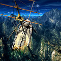 Sinking pirate brigantine on stormy seas Stock Photography