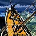 Sinking pirate brigantine on stormy seas Stock Photos