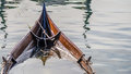 Sinking viking ship like boat from the back Royalty Free Stock Photos
