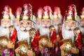 Sinterklaas dutch chocolate figurine close up of saint nicholas of character of santa claus Stock Photos