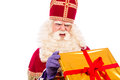 Sinterklaas looking disapointed gifts typical dutch character part of a traditional event celebrating the birthday of st nicolaas Royalty Free Stock Images