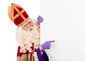 Sinterklaas with placard isolated on white background dutch character of santa claus Royalty Free Stock Photo