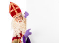 Sinterklaas with placard isolated on white background dutch character of santa claus Stock Photo