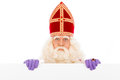 Sinterklaas with placard isolated on white background dutch character of santa claus Stock Images