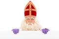 Sinterklaas with placard Royalty Free Stock Photo
