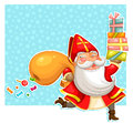 Sinterklaas with presents cartoon st nicholas carrying over starry background Stock Photography