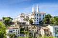 Sintra national palace palacio nacional de sintra also called town palace with distinct chimneys Royalty Free Stock Image