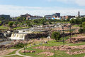 Sioux falls park south dakota skyline usa august tourists visit in usa with city in the background Stock Photos