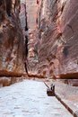 The siq gorge at petra nabatean ruins of Royalty Free Stock Photos