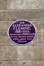 Sir alexander fleming plaque på sts mary sjukhus i london Royaltyfria Bilder