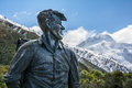 Sir Edmund Hillary Statue looking towards Mount Cook peak, New Zealand Royalty Free Stock Photo