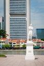 Sir Stamford Raffles statue on Clark Quay in Singapore Royalty Free Stock Photo